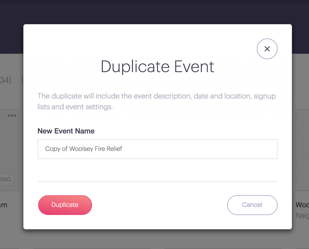 how to duplicate a signup