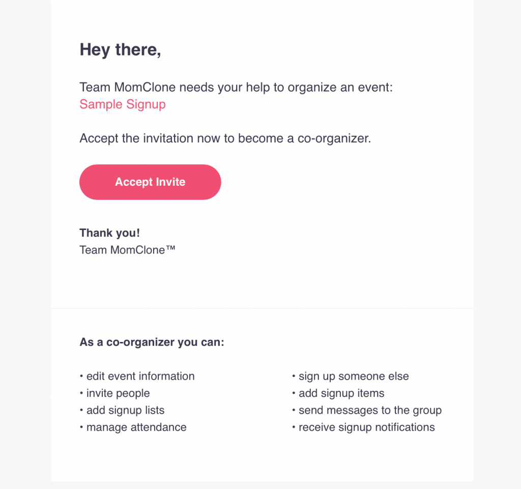 add a co-organizer to signup event signup tool momclone